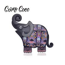 Cring Coco 2019 Cute Gray Elephant Brooch Pins Cartoon Pin Jewelry Animal Enamel Alloy Brooches for Women Vintage Girls