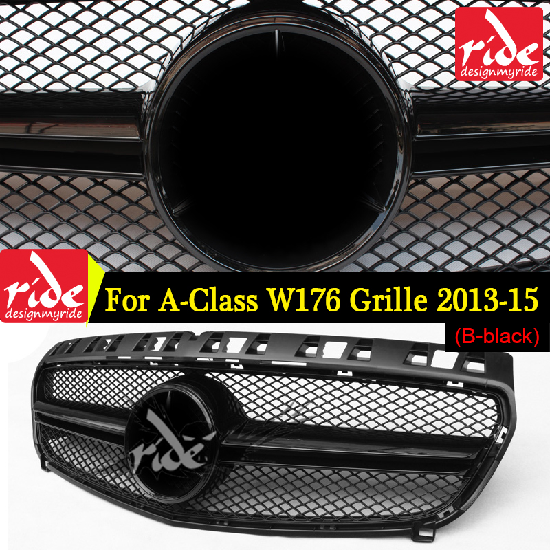 Fit For Mercedes Benz W176 ABS Front Grille W176 A CLASS A180 A200 A250 A45 AMG Without Emblem Badge Front Bumper Grille 2013 15 in Racing Grills from Automobiles Motorcycles