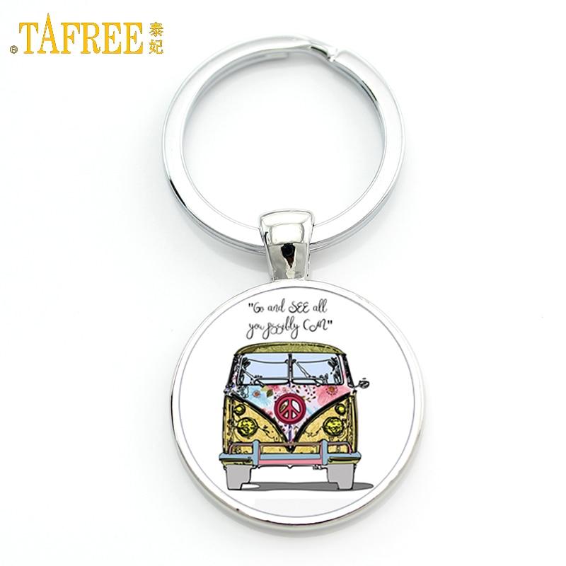 TAFREE exquisite handmade glass gem Hippie Peace Sign Van Bus mens keychain high quality pendant car ke ychain ring holder CT106