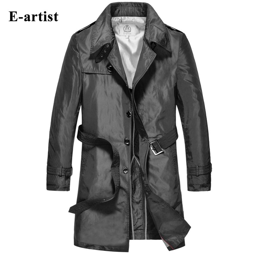 E-artist Mens Long Trench Coat With Belt Male Coats Jackets Windbreaker Outerwear Overcoat Plus Size 5XL F08
