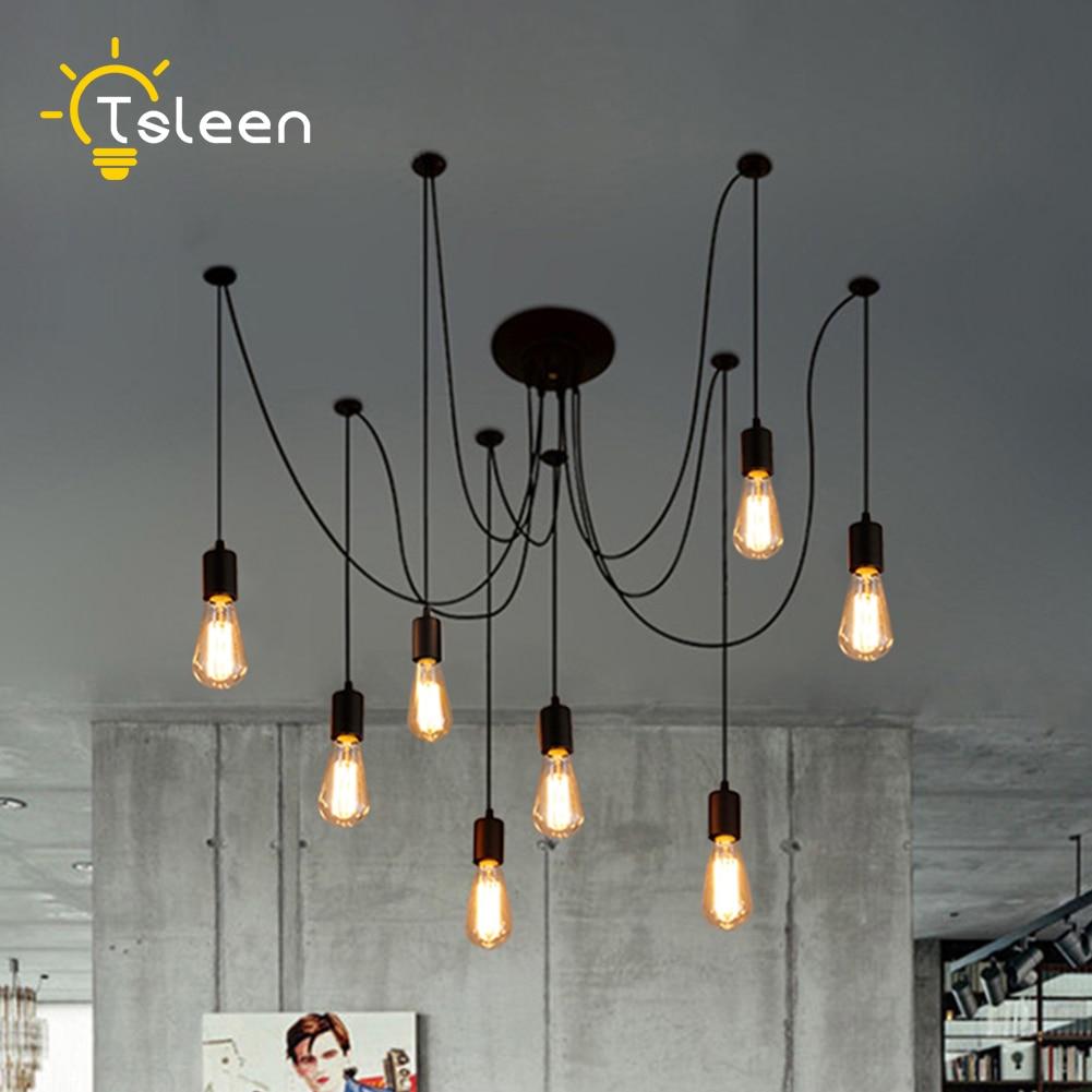 Us 7 28 42 Off Tsleen E27 E26 Retro Nordic Spider Pendant Led Lamp Adjule Swag Light Holder Set Lights Vintage Loft Lampe Luminaria In