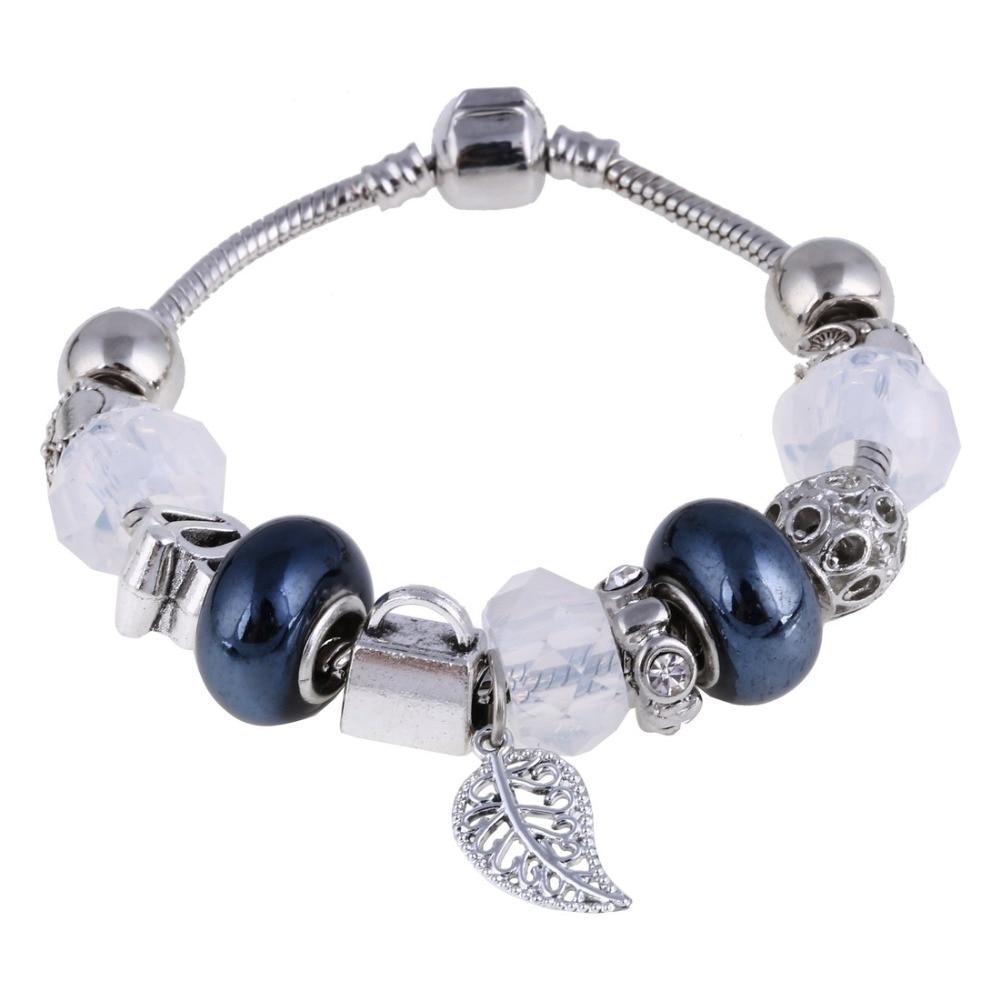 ZOSHI Pink Crystal Charm Silver Bracelets & Bangles for Women With Aliexpress Murano Beads Silver Bracelet Femme Jewelry 22