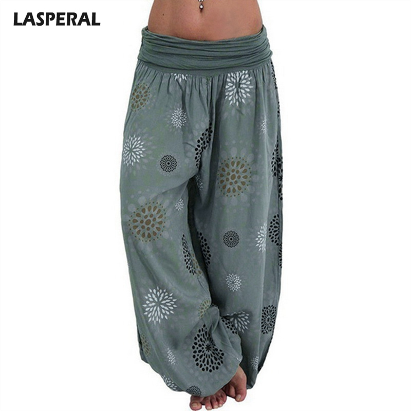 LASPERAL Women   Capris     Pants   Fashion Loose Bohemian Femme Printed 2018 Fashion Beach Street Long   Pants   Brand Ladies Bottom