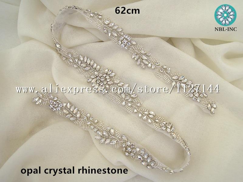 30pcs)Wholesale bridal sash hand beaded sewing clear opal crystal ... 3568115442b9