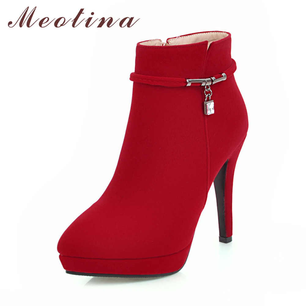Meotina Women Winter Boots High Heel Ankle Boots Zip Platform Shoes Pointed  Toe Ladies Sexy Velvet 39fd8aff4f00
