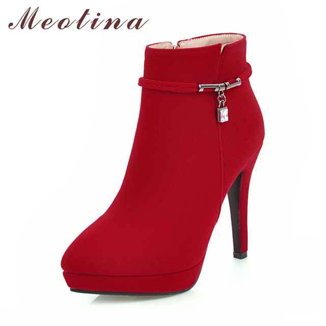 Meotina Women Winter Boots High Heel Ankle Boots Zip Platform Shoes Pointed Toe Ladies Sexy Velvet Boots 2018 Red Black 34-43