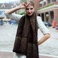 Sólida outono e inverno das mulheres de pele de vison xale moda multifuncional mink fur xaile cabo tamanho 160*35 centímetros quente xale