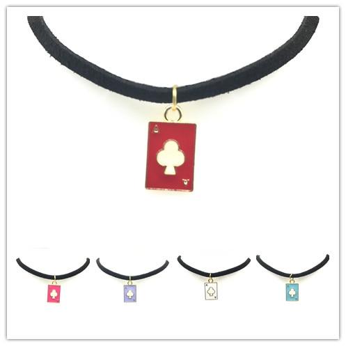 WLP New Gothic punk necklaces Cute trendy crystal lip triangle love Poker pendant black Velvet leather chokers necklace Velvet