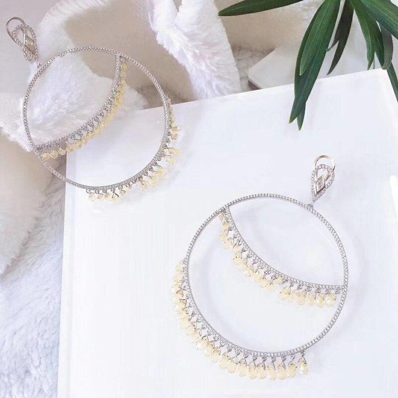 Projektant mody 925 srebro biżuteria 3A cyrkonia Party kolczyk w Wisiorki od Biżuteria i akcesoria na  Grupa 1