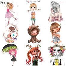 Prajna DIY Ballerina Cute Vinyl Heat Transfer Iron on Printed Stickers On Clothes Beauty Girl Thermal For Cloth Decor F