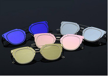 Free Shipping New Arrival Sunglasses Women Vintage Fashion Mirrored Sunglasses Unique Flat Ladies Sunglasses WUWD004