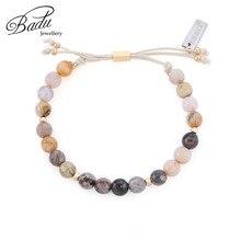 Badu Natural Stone Beads Bracelet Drawstring Adjustable Vintage Bracelets for Girls Wholesale Jewelry Gift Dropship