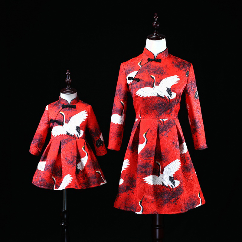 Brand children clothes Chinese style family matching outfits mom and baby girls Improved cheongsam dress mother daughter dresses цена и фото