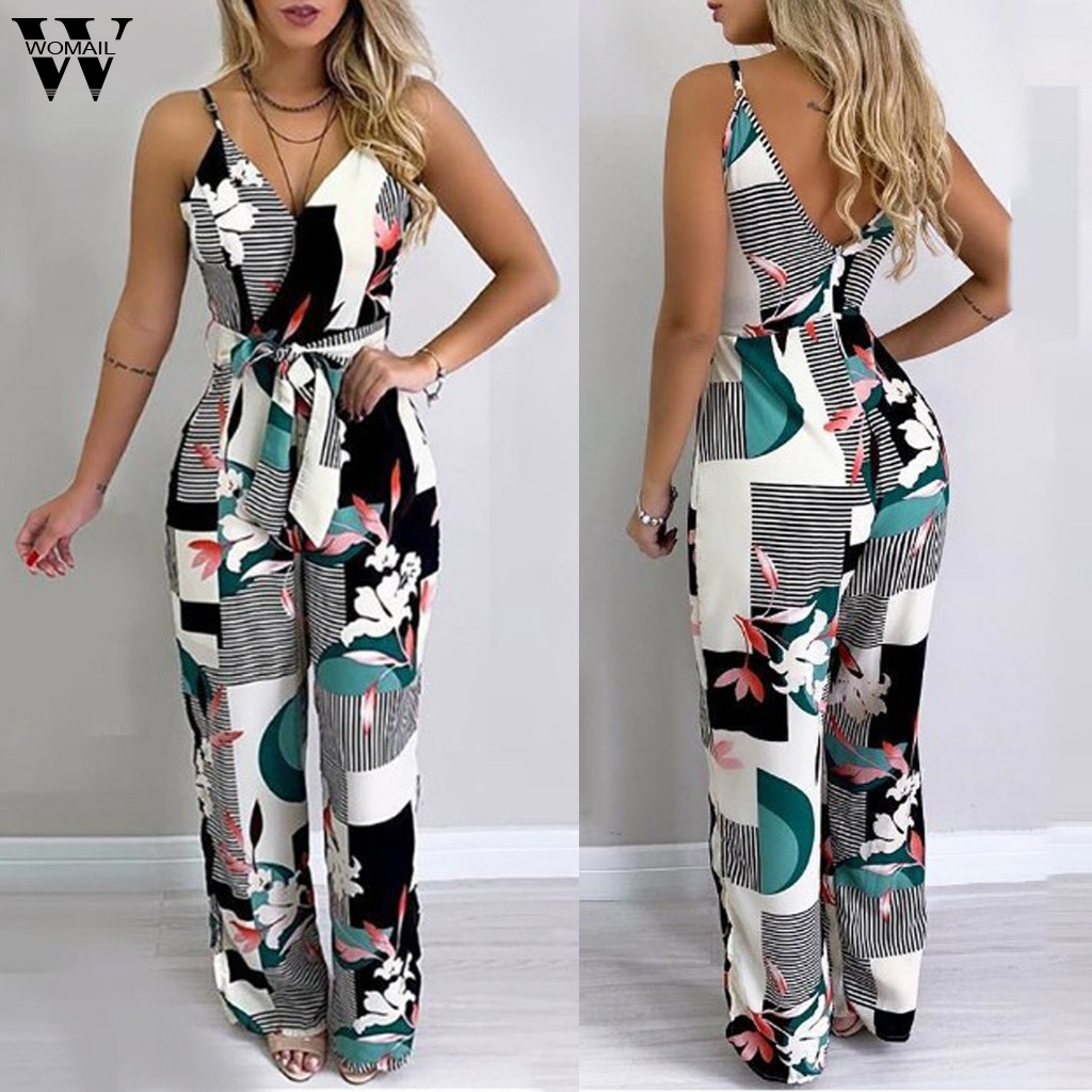 Womail Bodysuit Women Fashion Striped Printed Sleeveless Sexy V-Neck Simple Beach Ladies Wide Leg Long Jumpsuits Holiday J711