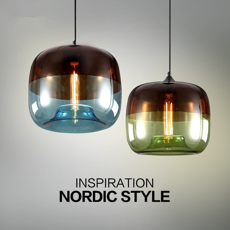 LukLoy LED Modern Pendant Light Glass Hanging Lamp Nordic Lobby Bar Living Room Kitchen Dining Room Clothing Blue Green Glass