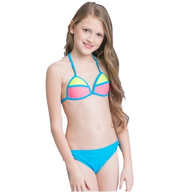 2018 Girl Kid Halter Micro Bikini Set Beach Wear Swimwear Swimsuit Swim Bathing Suit Children Cute Sexy Bather Pool Teens Tanga