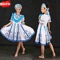 Традиционный русский dress костюм женщины макси платья национальный русский танец костюмы белый long dress