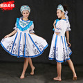 Tradicional ruso dress costume mujeres maxi vestidos trajes de danza nacional de rusia blanca larga dress