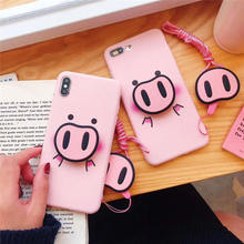 Fashion For iphone X XS Max XR Case Cute Cartoon Pig Nose Soft Phone Strap Rope Cases For iphone 6 6s 7 8 plus Back Cover цена и фото