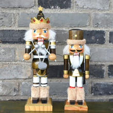 2pcs set Soldier nutcrackers Decorative crafts Wood craft house ornaments Hand made vintage