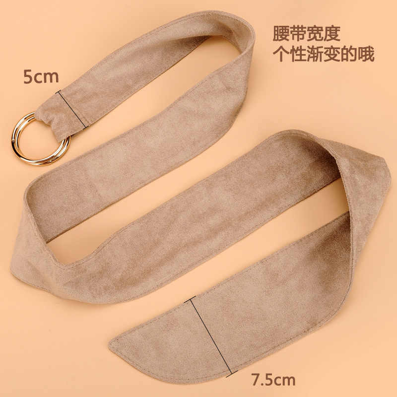 Female faux suede belt the tie - in dress coat decoration fashion circle knot wide getting double ring belt buckle belts