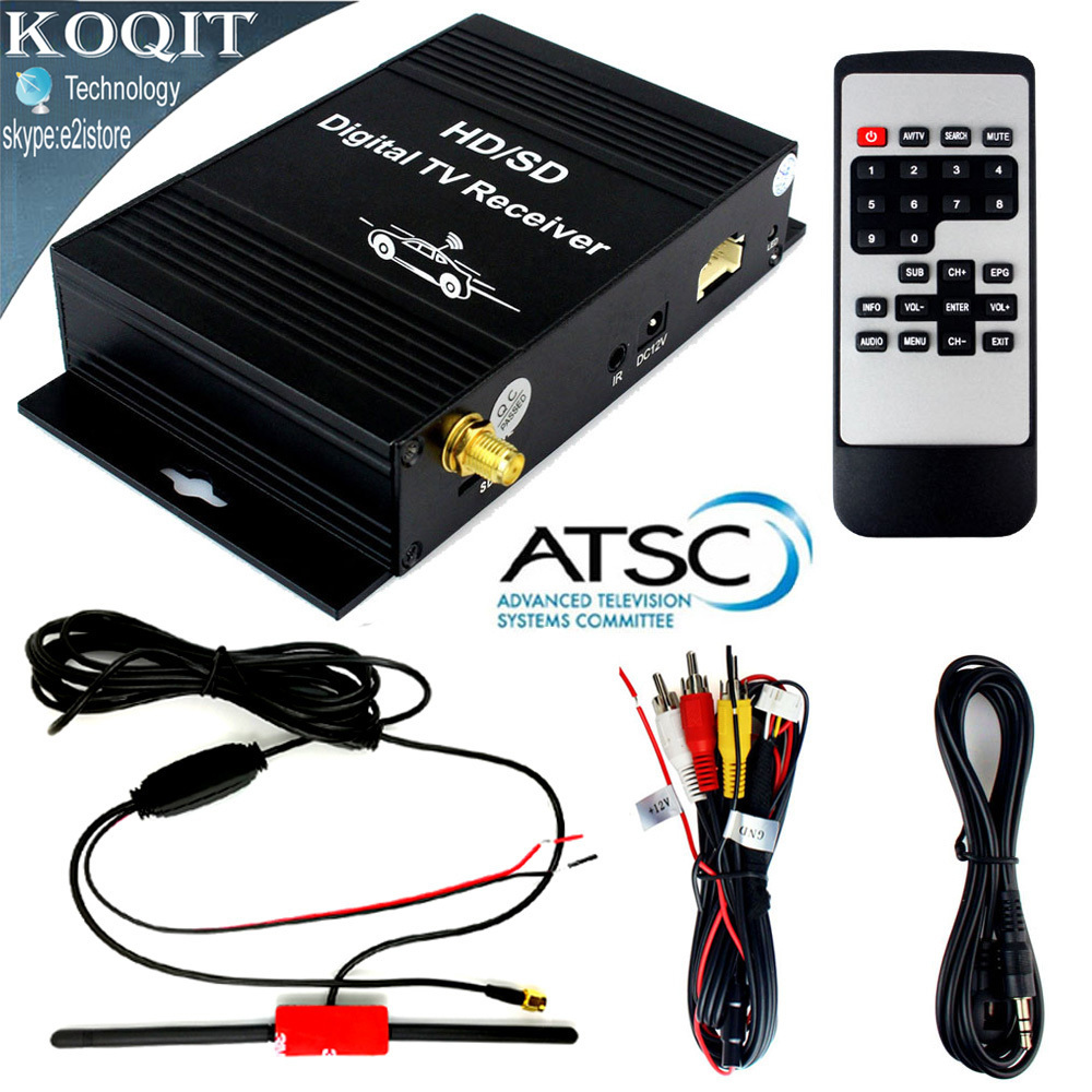 Car Digital Terrestrial ATSC Receiver TV Tuner 4 Video Out Free HD/SD Channel On Car With Active Amplifier UHF VHF Antenna mini hd dvb t2 terrestrial digital tv receiver support 3d black