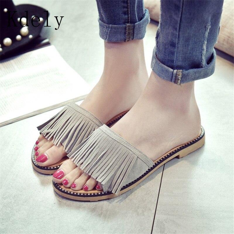 Summer Women Slides Fashion Women Slippers Sandals Soft Soles Slippers Tassels Beach Flip Flops Shoes Woman Outside Flat