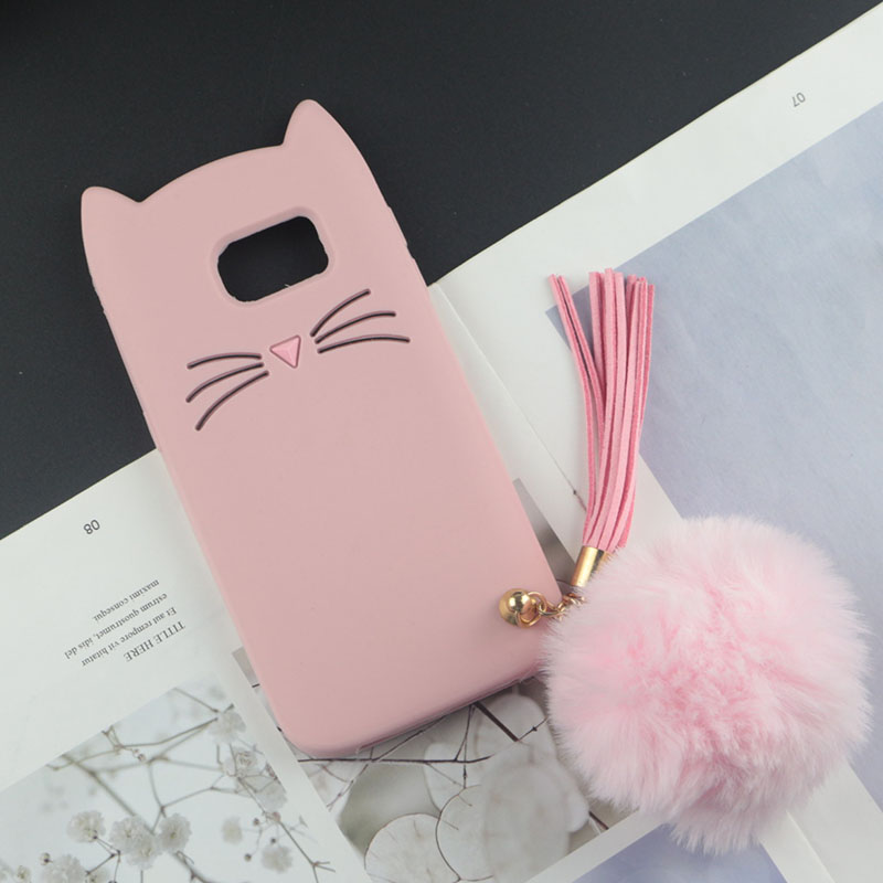 Cute 3D Cartoon Silicon Case for Samsung Galaxy S6 / S6 edge Plus Cases Japan Glitter Beard Cat Lovely Ears Kitty Phone Cover