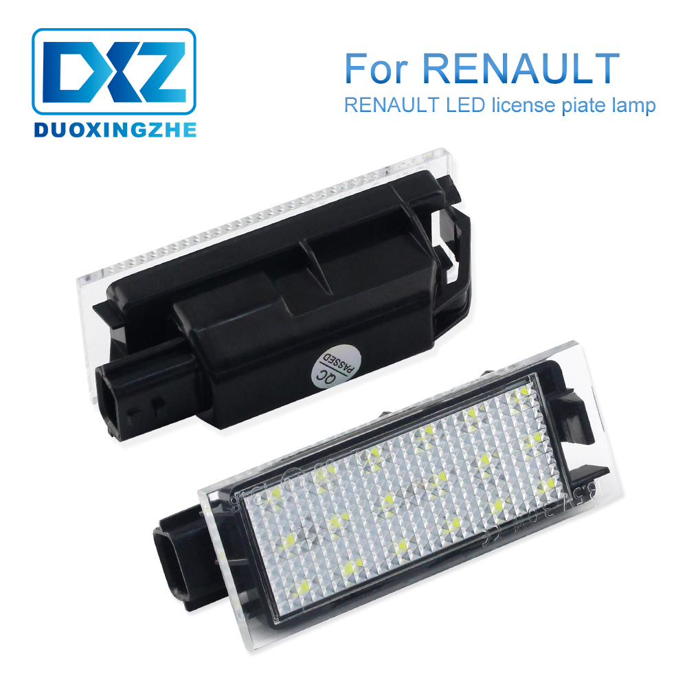 DXZ 2X Car <font><b>LED</b></font> Number License Plate Light SMD 3528 For <font><b>Renault</b></font> Megane 2 Clio Laguna 2 Megane <font><b>3</b></font> Twingo <font><b>Master</b></font> Vel Satis Grandtour image