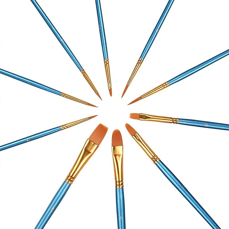10 pcs/ensemble Aquarelle Gouache Peinture Pinceaux Différents Forme Nylon Cheveux Manche En Bois Peinture Brush Set Art Fournitures - 2