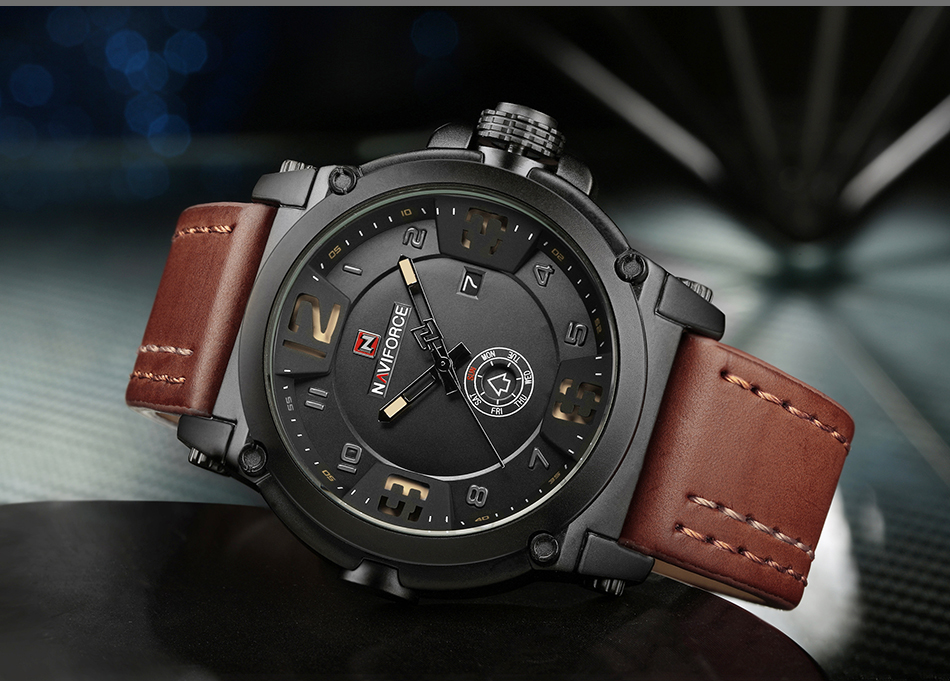IA2A4014  High Model Luxurious NAVIFORCE Males Sports activities Watches Males's Military Navy Leather-based Quartz Watch Male Waterproof Clock Relogio Masculino HTB1y4 zbPihSKJjy0Ffq6zGzFXaq