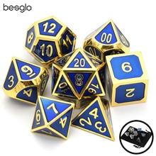Набор из 7 Металлических Кубиков блестящая золотая отделка с королевской синей эмалью краска для RPG DND MTG настольные игры