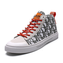 Men Sneakers 2019 Outdoor High-top Canvas Mens Running Breathable Falt Shoes New Brand Lace-up Sport Walking Shoe High Quality