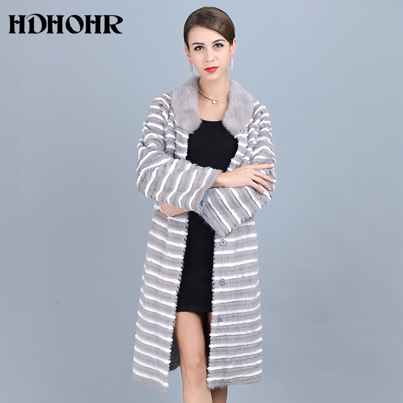 HDHOHR 2019 New Real Mink Fur Coats Women Casual Long Warm Natural Mink Jackets Noble With Belt Kintted Fur Jackets For Female in Real Fur from Women 39 s Clothing