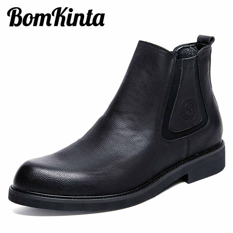 BomKinta Spring Autumn Mens Chelsea Boots Luxury Leather Boots Men Classic Brand Ankle Boots British Style Black Casual Shoes