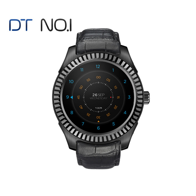 DTNO.1 D7w Android 4.4 Smartwatch Companion Watch MT6572 with 500 mAh Battery Capacity Compass Wifi Smartwatch men Custom face