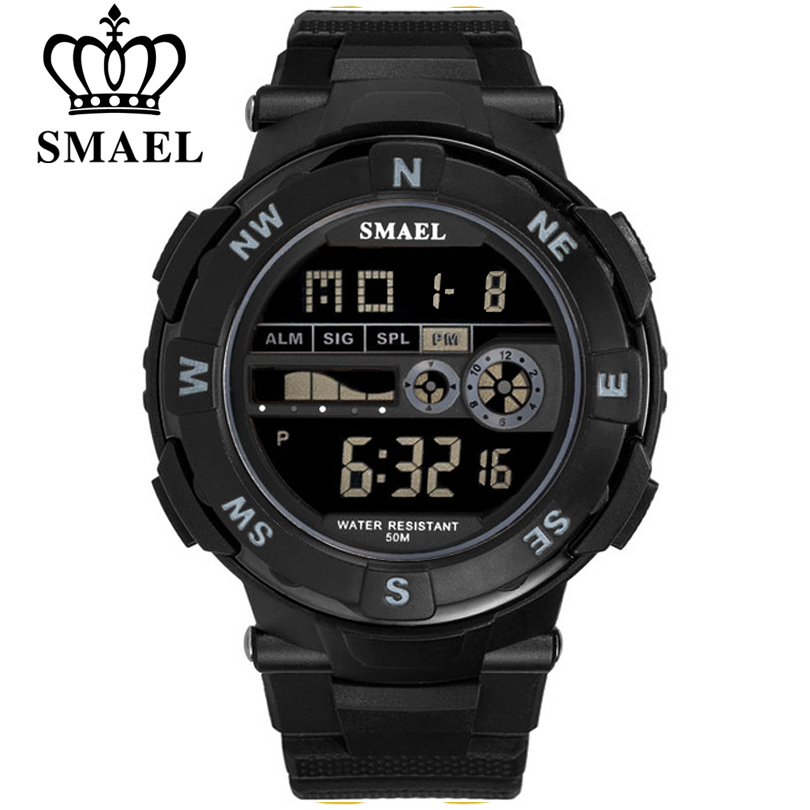 SMAEL Brand Mens Sports Watches Waterproof Digital LED Military Watch Men Fashion Casual Electronics Wristwatches Digital Clock smael 1708b
