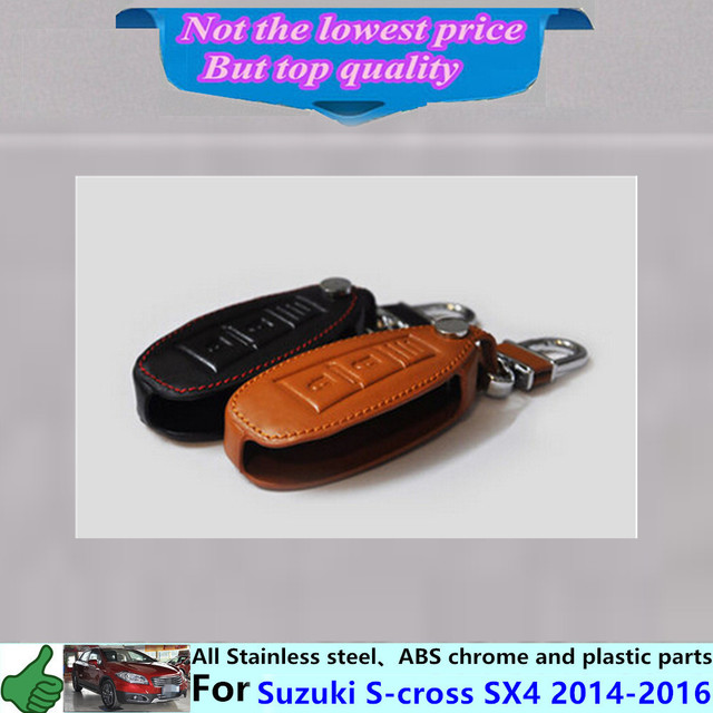 Car inner Stick styling cover detector Leather key Chain bag cases Graffiti frame lamp 1pcs Suzuki S-cross SX4 2014 2015 2016
