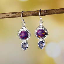 womens fashion earrings retro vintage purple stone ear for lady wholesale price anniversary jewelry gifts