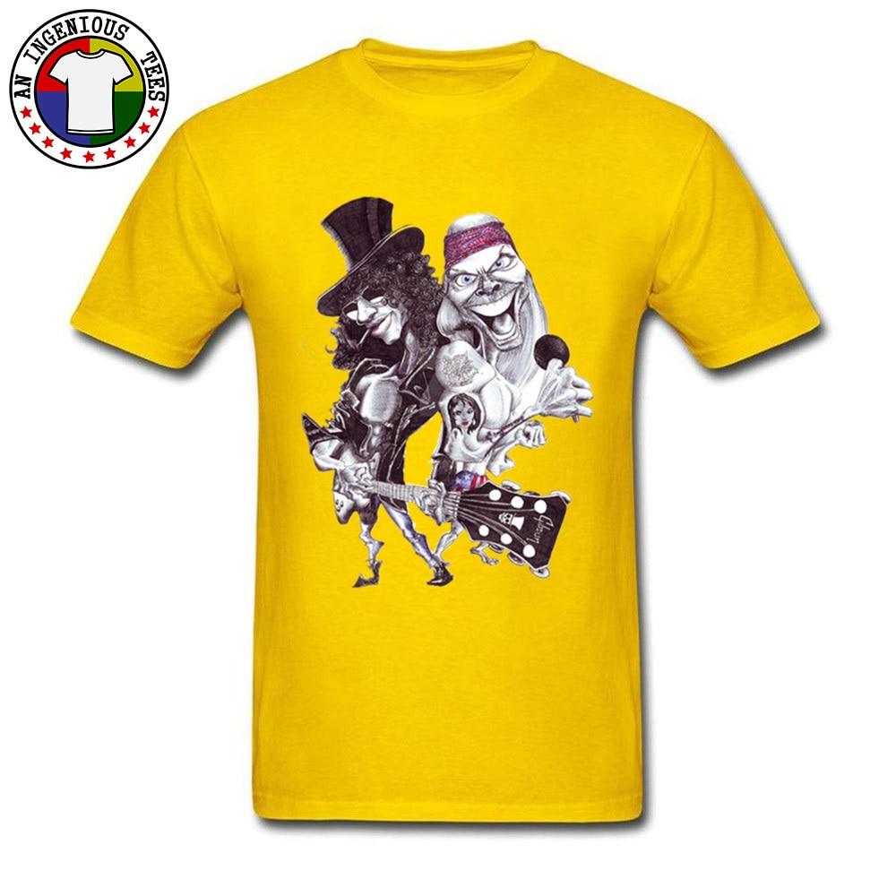 On Sale Man T Shirts O Neck Short Sleeve Pure Cotton Guns N Rose Cartoon Tops Shirts comfortable Tshirts Wholesale Guns N Rose Cartoon yellow