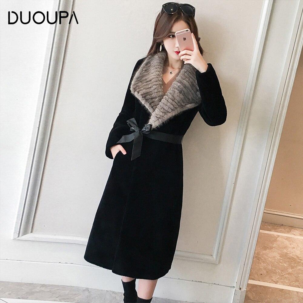 DUOPA Winter warm women coat 100% wool sheepskin shearling coat real mink fur collar long outwear windbreaker casacos