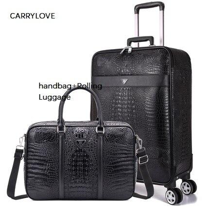 Carrylove Mode 16/20/22/24 Zoll Größe Business Gepäck Internat Handtasche + Roll Gepäck Spinner Marke Reise Koffer Letzter Stil