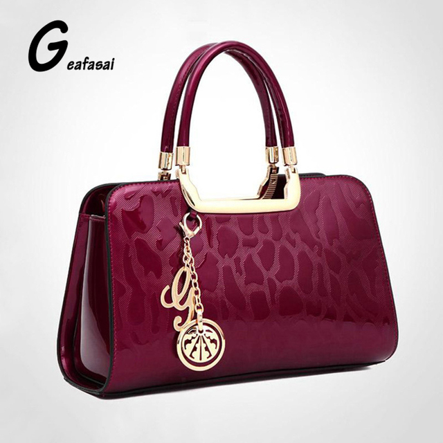 COUPON burgundy red blue bright stone Leopard Print leather pendant tote women handbag saffiano frame boston top handle Bags