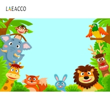 Laeacco Cartoon Forest Animals Tree Party Portrait Photography Backgrounds Customized Photographic Backdrops for Photo Studio liberty project tempered glass защитное стекло для samsung galaxy a3 clear 0 33 мм
