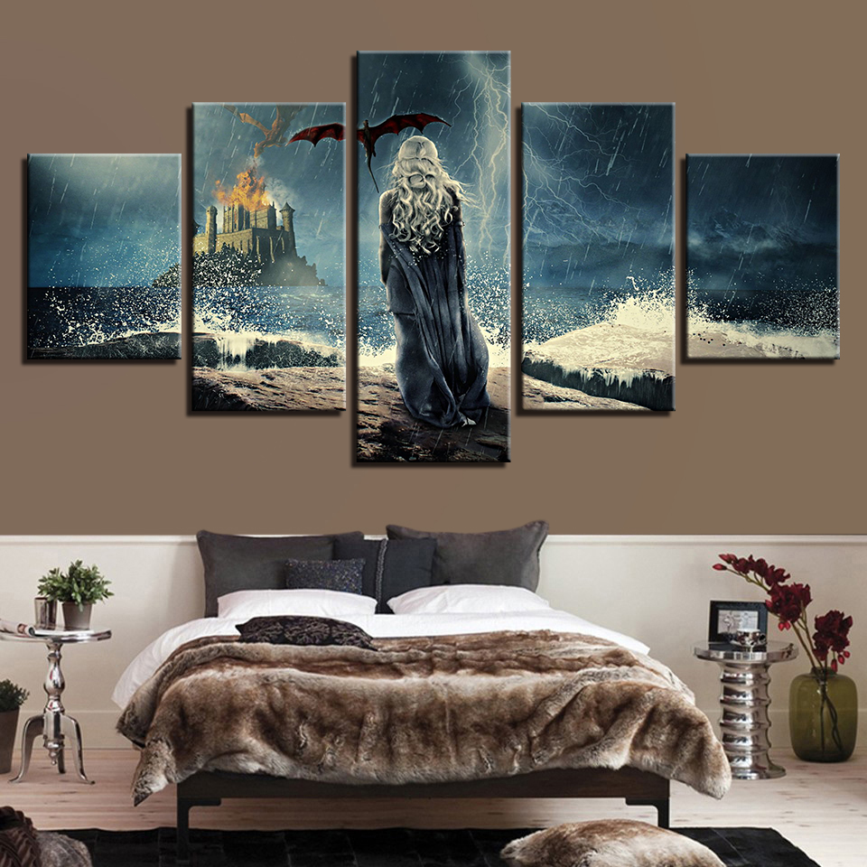 Us 5 66 43 Off Modern Canvas Paintings Modular Wall Art Framework 5 Pieces Game Of Thrones Posters Living Room Home Decor Hd Prints Tv Pictures In