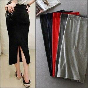 Image 1 - קוריאני נשים ארוך חצאיות גבוהה מותן Slim דק סדק חצאית Saia Longa צלעות הדוק ירך חבילת חצאית MY917