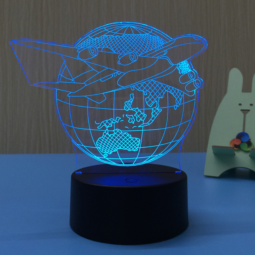 Airplane Earth 3D LED Lamp Night Light USB LED Illusion Atmosphere Vision Table Lamp for Children Bedroom Decor Novelty GiftAirplane Earth 3D LED Lamp Night Light USB LED Illusion Atmosphere Vision Table Lamp for Children Bedroom Decor Novelty Gift