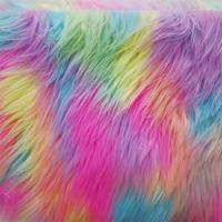 Многоцветная жаккардовая Радужная плюшевая ткань, ткань искусственный мех, войлочная ткань, ткань для кукол