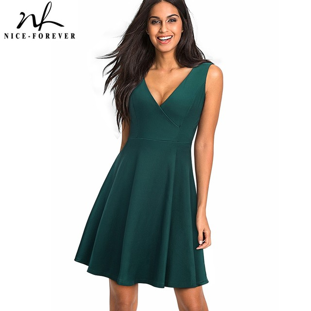 Хороший-навсегда Винтаж 1950-х годов Сексуальная V шеи спинки платья трапециевидной формы без рукавов Женский Flare вечерние женская обувь на застежке-молнии летнее платье A087
