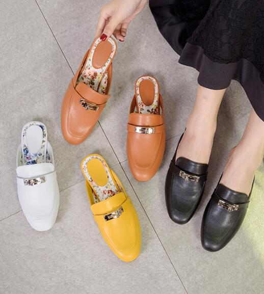 BONJEAN Fashion Round Toe Flat Shoes Woman Newest Leather Casual Shoes Buckle Decorations Mules Shoe Black White